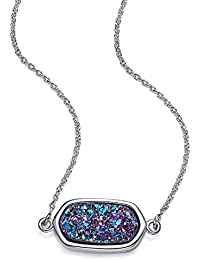 """""""Rainbow Light """" Pendant Natural Crystal Drusy Necklace Gemstone Chakra Jewelry Mother's Day Gifts, Nice gift box and Inspirational Gift Card, 18''+ 2"""" Extender"""