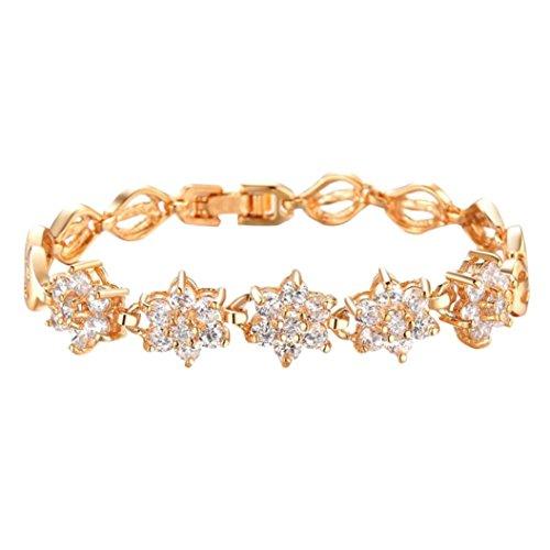Clearance ! Bracelet, Fitfulvan 2018 Women Fashion Zircon Fine Diamond Plated 18K Gold Wheat Handmade Trinkets Bracelet Jewelry (Gold)