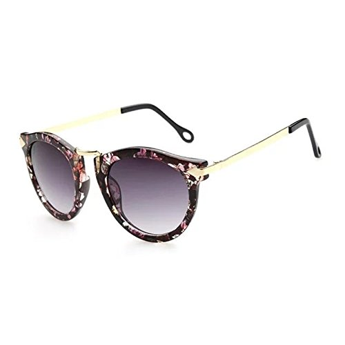 Brendacosmetic European version Vintage Classic fashion Round Arrow sunglasses ,Colorful Retro fancy frame Polarised Reflective sunglasses for - Diamond Sunglasses Shape Face For Female