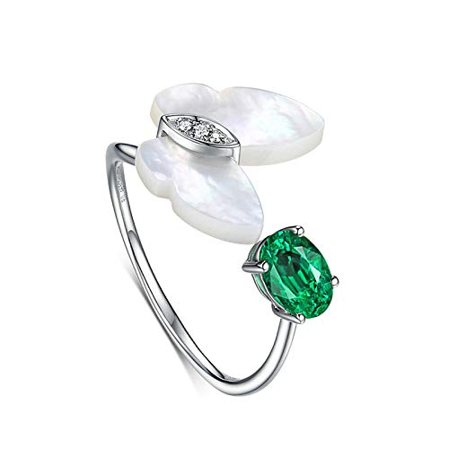 MoAndy White Gold 18K Female Rings Statement Ring Emerald 0.46ct & Diamond Green Size 6.5