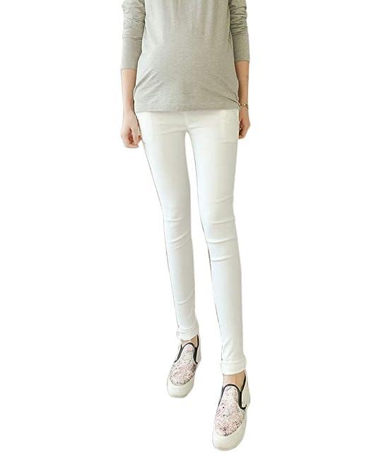Pantalones Embarazada Elasticos Premamá Leggings Para Mujer Blanco M