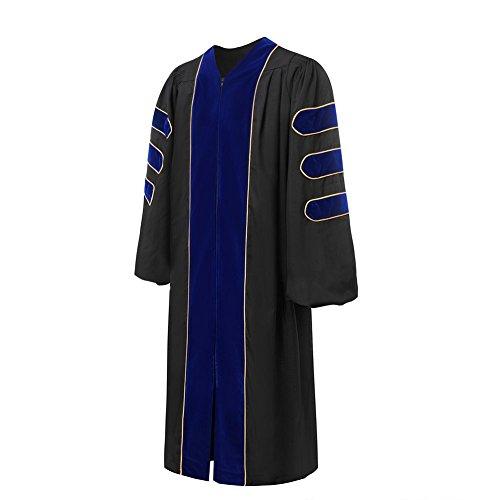 lescapsgown Deluxe Doctoral Graduation Gown-Royal Blue Trim Gold Piping(Royal Blue Size 57) by lescapsgown