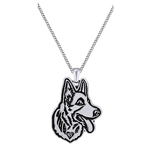 Jewel Zone US Cute German Shepherd Dog Animal Unique Necklaces & Pendants 14k White Gold Over Sterling Silver ()