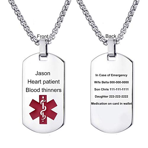 LMXXV Free Engraving-Quality Stainless Steel Medical Alert ID Dog Tag Pendant Necklace for Men Women,24 Inches Chain
