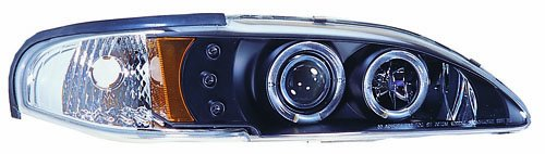 IPCW CWS-519B2 Ford Mustang 1994 - 1998 Head Lamps, Projector With Rings & Corners Black B005FW2M8G
