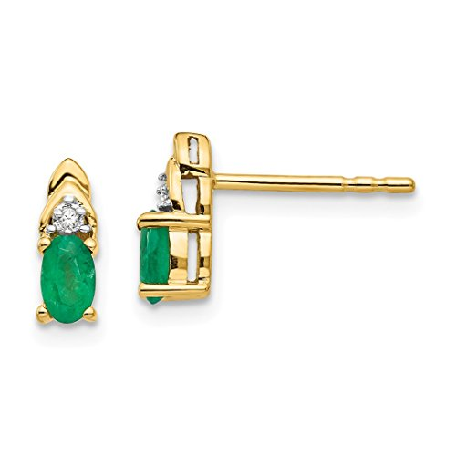 ICE CARATS 14k Yellow Gold Diamond Green Emerald Post Stud Earrings Drop Dangle Birthstone May Set Style Fine Jewelry Gift Set For Women Heart (Earrings Heart Style Birthstone Yellow)