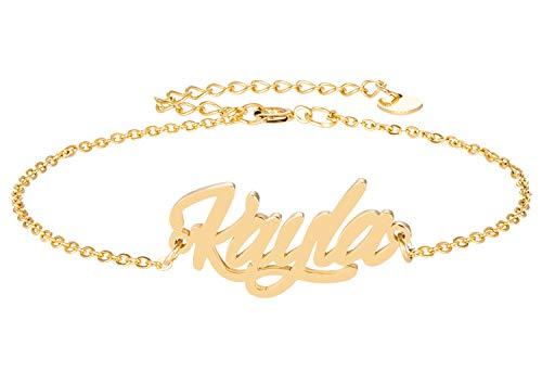 HUAN XUN Kayla Charm Initial Danity Bracelet Family Love Jewelry Gifts in Golden