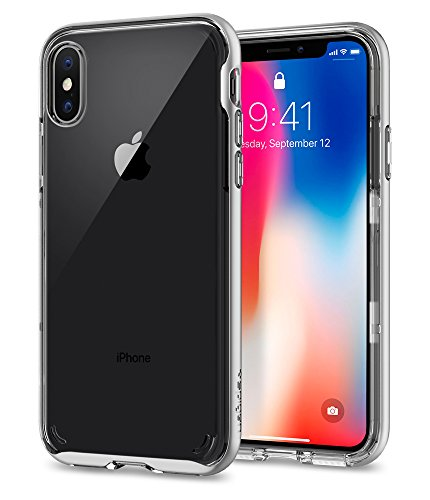 (Spigen Neo Hybrid Crystal iPhone X Case with Clear Hard Casing and Reinforced Hard Bumper Frame for Apple iPhone X (2017) - Satin Silver)