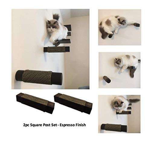 Floating Cat Post Steps Shelf Set (2pc) | Handcrafted Solid Hardwood Climbing Posts | Space-Saving Wall-Mounted cat Furniture | Choice of Shape and Wood Finish (Espresso, Square) ()
