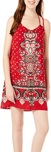 Angie Womens Printed Double Strap Sundress  Red  Small