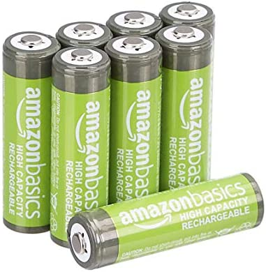 Amazon Basics AA High-Capacity Ni-MH Rechargeable Batteries (2400 mAh), Pre-charged - Pack of 8