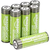 AmazonBasics AA High-Capacity Rechargeable Batteries (2400 mAh), Pre-charged - Pack of 8 (Appearance may vary)