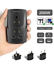 DOACE 2018 Upgraded C11 2000W Voltage Converter for Hair Dryer, Hair Straightener, Flat Iron, Set Down 220V to 110V International Travel Transformer with 2-Port USB Charging, UK/AU/US/EU Plug Adapter