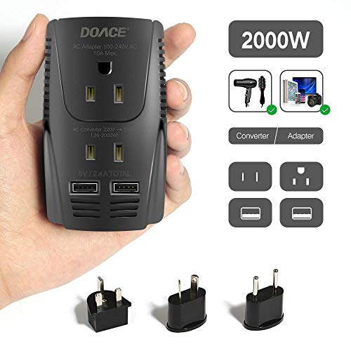 2019 Upgraded DOACE C11 2000W Travel Voltage Converter for Hair Dryer Straightener Flat Iron, Step Down 220V to 110V, 10A Power Adapter with 2-port USB, EU/UK/AU/US Plugs for Laptop Camera Cell Phone (Best Travel Shaver 2019)