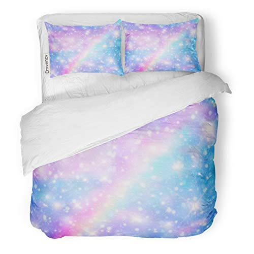 - Tarolo Bedding Duvet Cover Set Galaxy Fantasy and Pastel Color The Unicorn in Sky Rainbow Clouds Bokeh Cute Bright Candy 3 Piece King 104