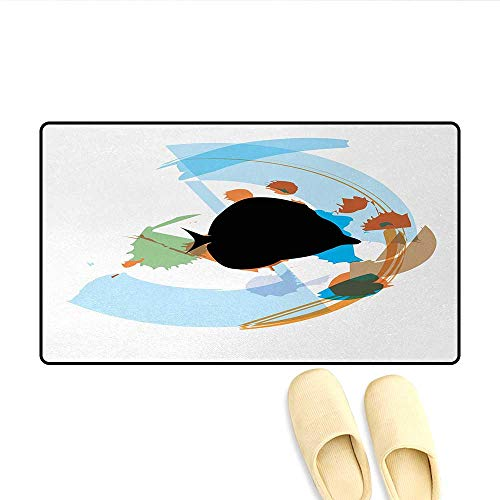 Bath Mat,Silhouette of a Discus Cichlid in a Partly Illustrated Bowl Cartoon in Pastel Colors,Door Mat Outside,Multicolor,Size:20