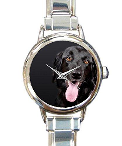 Retriever Flat Watch (Coolstuffs Black Flat Coated Retriever Women Ladies Italian Charm Bracelet Wrist Watch Analog Quartz Classic Watch)