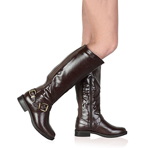 My1stWish Women's Long Calf Block Heel Faux Leather Elasticated Boots Brown H9GCA