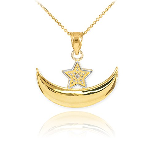 14k Yellow Gold Diamond Islamic Crescent Moon and Star Pendant Necklace, 20