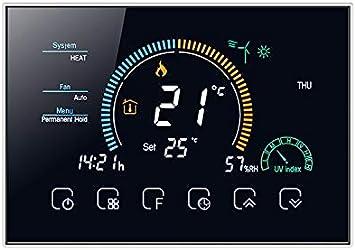 T-storm - Termostato inteligente Wi-Fi caliente y frío para fan-coil de 2/4 tubos con pantalla LCD a color compatible con caja 503 - Compatible con Alexa, Google Home e IFTTT