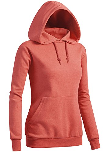 CLOVERY Women's Color Contrast Short Sleeve Hoodie Peach US XL+ / Tag XXL -