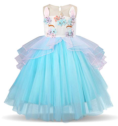 TTYAOVO Kids Unicorn Costume Dress Girl Princess Flower Pageant Party Tutu Dresses Size 3-4 Years Blue