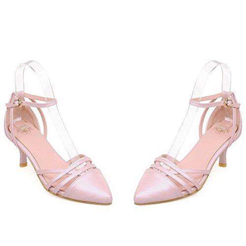 Amoonyfashion Hebilla Para Mujer Acentuada Con Punta Cerrada Kitten Heels Solid Bombas Zapatos Pink