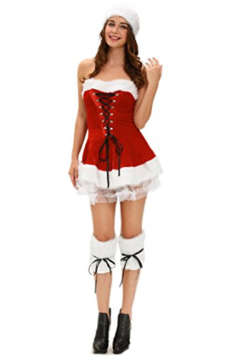 [Prettywell Womens Cosplay Sweet Chest Wrap Santa Dress Stage Outfit 7173] (Victorian Servant Costumes)
