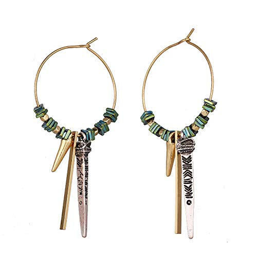 GYXYZB Ethnic Magnetic Stone Hematite Geometric Drop Dangle Earring for Women Party Retro Brincos Jewelry ()