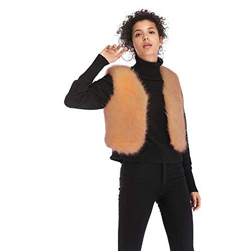 Smanicato Invernali Mode Khaki Donna Di Calda Elegante Giacche Gilet Gilè Vintage Ecopelliccia Autunno Pelliccia Canottiera Puro Colore Fashion Marca vbmYfI76gy