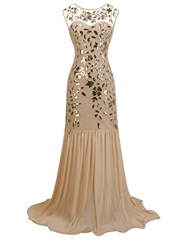 FAIRY COUPLE Women 's V Back 1920S Gatsby Maxi Long Sequin Fringed Formal Long Prom Eveming Dress S Champagne Gold