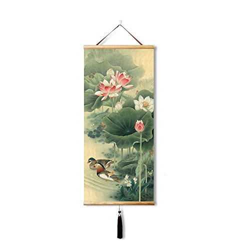 Canvas Prints Artwork Silk Chinese painting home decoration paintings and calligraphy hanging art,Decor painting Wall Scroll, Print painting Mandarin ducks in the water, Metaphor and love (35X80CM)