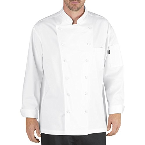 Chef Code Lorenzo Executive Classic Chef Coat With Cloth Covered Buttons (Wht, 2XL) (Twill Sueded Shirt)