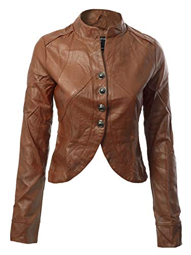 Design by Olivia Women's Long Sleeve Faux Leather Jacket Cropped Crop Top Caramel L