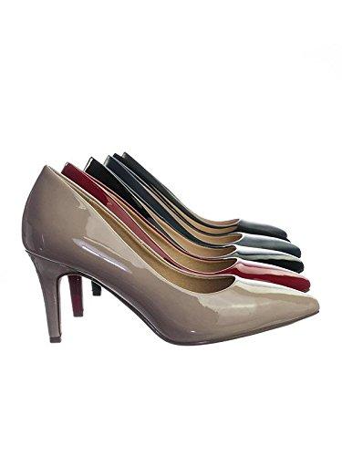 City Classified Comfort Coen-h Medium High Heel Pointy Toe PumpSuper Cushioned Memory Foam Inner Sole Beige Patent 8.5 ()