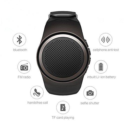 Reloj altavoz por Bluetooth de Hinmay, minialtavoz portátil multifuncional por Bluetooth, altavoz deportivo, tarjeta TF MP3 reproductor de Música, radio FM, manos libres, selfie