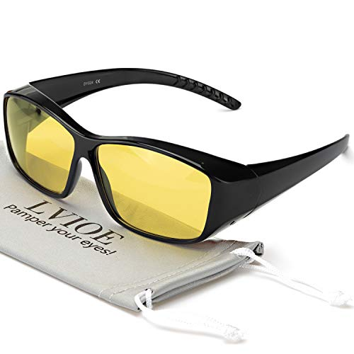 LVIOE Wrap Around Night Driving Glasses with HD Polarized Yellow Lens Lightweight Frame for Night Vision Eyewear (Black Frame Night Vision - Eyewear Wrap Around