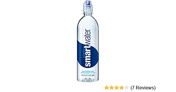 smartwater vapor distilled premium water bottle, 23 7 fl oz