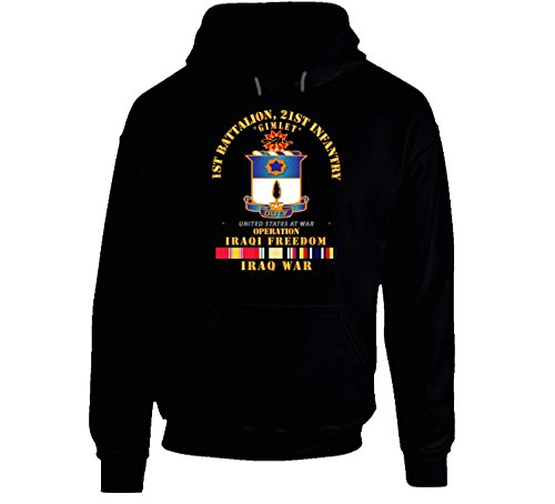 2XLARGE - Army - 1st Bn 21st infantry - w Iraq SVC Ribbons - OIF T Hoodie - Black by American Enterprises Military Insignia Cothing