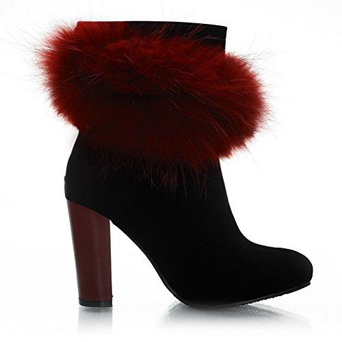 BalaMasa Girls Zipper Chunky Heels Anti-Skidding Bottom Frosted Boots Claret 00vCghA