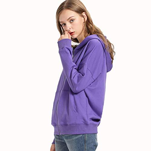 Otoño Damas Sólido Mujer Con Ideal Color Simple Púrpura Manga Sudadera Para Algodón Capucha Outwear Larga 100 De fZO4qSw