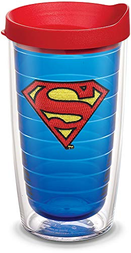 Tervis 1084020 Superman Tumbler with Emblem and Red Lid 16oz, Blue