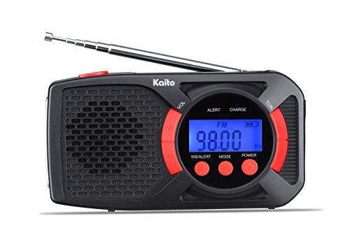 Kaito KA360 Digital Portable Hand Crank Solar AM/FM NOAA Weather Radio with Cell Phone Charger & 3-LED Flashlight (Black) (Red)