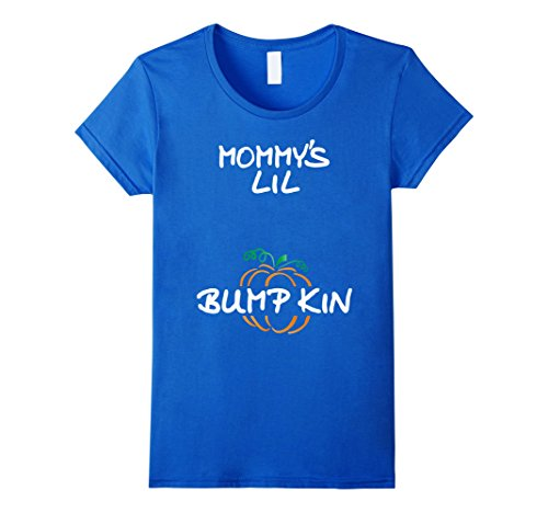 Womens Pregnant Halloween Tshirt MOMMY'S LIL BUMPKIN Large Royal Blue