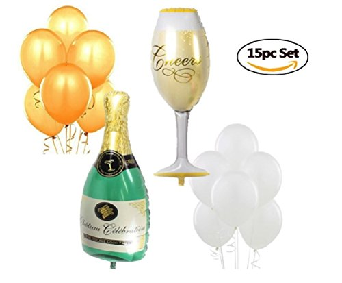 Champagne Ball Ornament - XL Wine Glass & Champagne Balloons - Includes Gold & Ivory Latex Balloons - Wedding Birthday Party Anniversary Graduation - Complete Party Supplies Decorations - by Jolly Jon ®