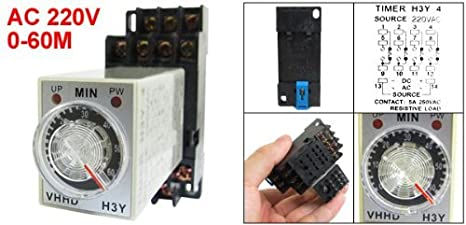 Timing eDealMax H3Y-4 Indicador LED de encendido Relay 4PDT 14 Pin 0-60m 60 Min 220V AC w Base - - Amazon.com