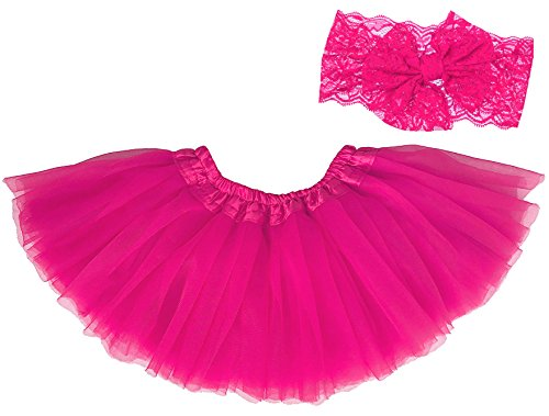Beautiful Baby Lace Skirt (Dancina Tutu Headband Set Newborn Unisex Cute Photography Prop Flower Costume 6-24 Months Hot Pink)