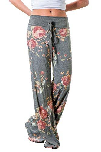 WFTBDREAM Casual Fall Leggings Palazzo Lounge Pants Women Floral Printed Wide Leg S (Best Lounge Pants Ever)