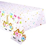 Unicorn Themed Birthday Party Decorations - Unicorn Plastic Tablecloth | 53 x 90 inches,Disposable