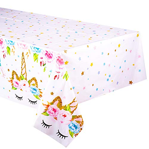 Unicorn Themed Birthday Party Decorations - Unicorn Plastic Tablecloth | 53 x 90 inches,Disposable Table Cover | Magical Unicorn Party Supplies for Girls and Baby Shower]()